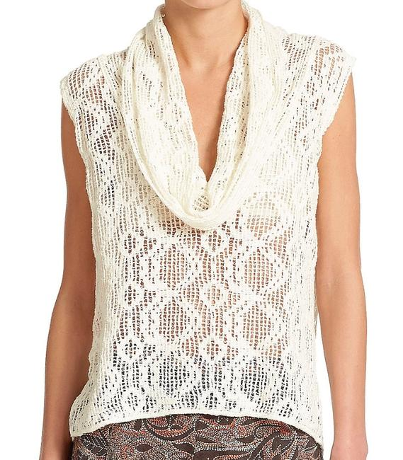 Free People Super Sheer Openwork Drapey Cowl Neck High Low Hem Side Hem Vents Fun To Layer Top Ivory Image 1