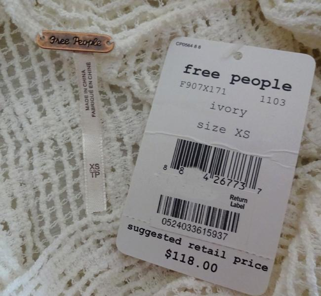 Free People Super Sheer Openwork Drapey Cowl Neck High Low Hem Side Hem Vents Fun To Layer Top Ivory Image 3