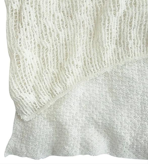 Free People Super Sheer Openwork Drapey Cowl Neck High Low Hem Side Hem Vents Fun To Layer Top Ivory Image 5