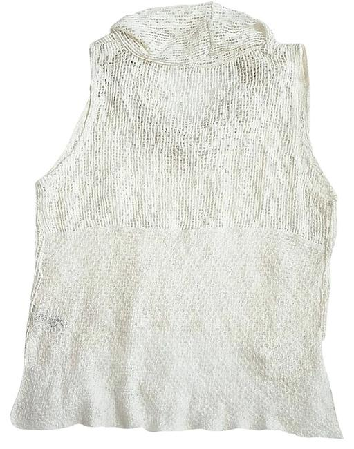 Free People Super Sheer Openwork Drapey Cowl Neck High Low Hem Side Hem Vents Fun To Layer Top Ivory Image 7
