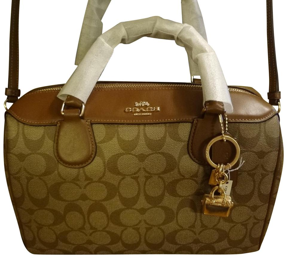 8ad248c2bd40 Coach Bennett **sale**monogram Set***free Gift*** Saddle Brown and Tan  Coated Canvas Satchel