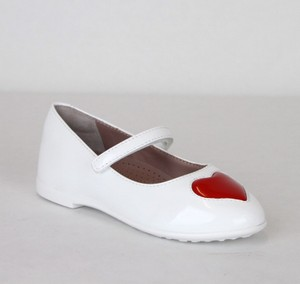 Gucci White W Patent Leather Ballet Flat W/Red Heart 24/Us 8 462616 9087 Shoes