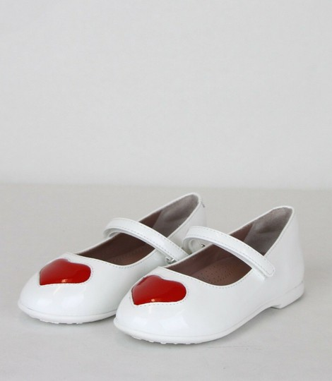 Gucci White W Patent Leather Ballet Flat W/Red Heart 24/Us 8 462616 9087 Shoes Image 1