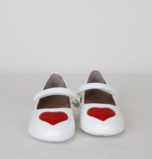 Gucci White W Patent Leather Ballet Flat W/Red Heart 24/Us 8 462616 9087 Shoes Image 2
