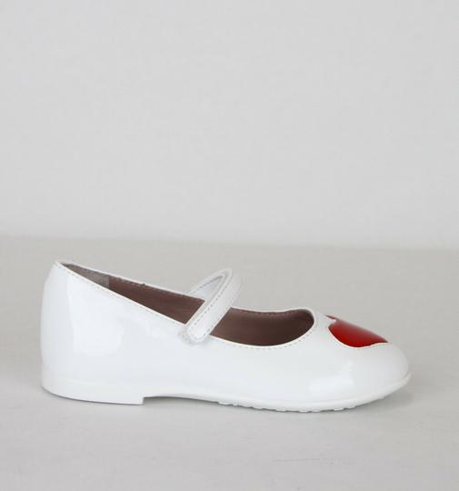 Gucci White W Patent Leather Ballet Flat W/Red Heart 24/Us 8 462616 9087 Shoes Image 6