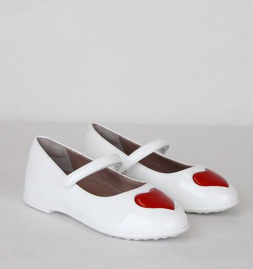 Gucci White W Patent Leather Ballet Flat W/Red Heart 26/Us 10 462616 9087 Shoes Image 3