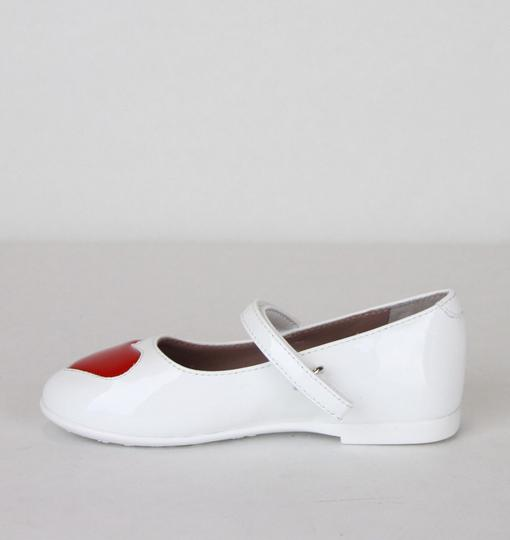 Gucci White W Patent Leather Ballet Flat W/Red Heart 26/Us 10 462616 9087 Shoes Image 7