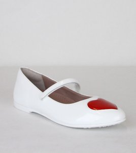 Gucci White W Patent Leather Ballet Flat W/Red Heart 27/Us 10.5 455402 9087 Shoes