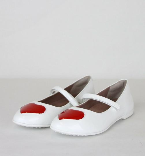 Gucci White W Patent Leather Ballet Flat W/Red Heart 27/Us 10.5 455402 9087 Shoes Image 1