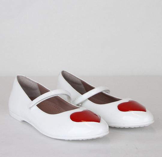 Gucci White W Patent Leather Ballet Flat W/Red Heart 27/Us 10.5 455402 9087 Shoes Image 2