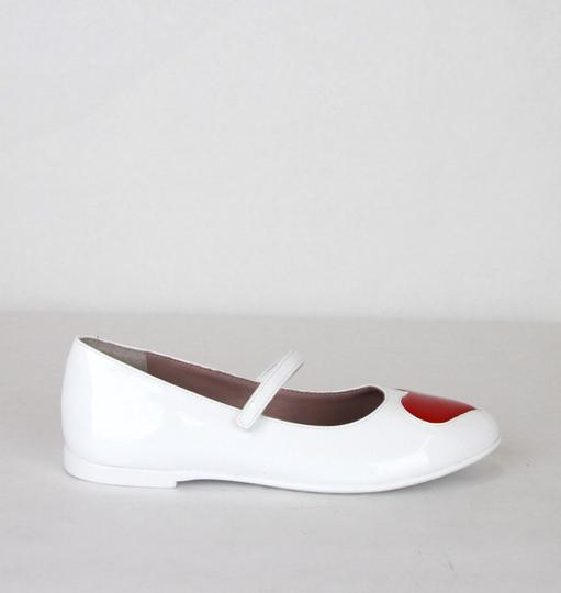 Gucci White W Patent Leather Ballet Flat W/Red Heart 27/Us 10.5 455402 9087 Shoes Image 4