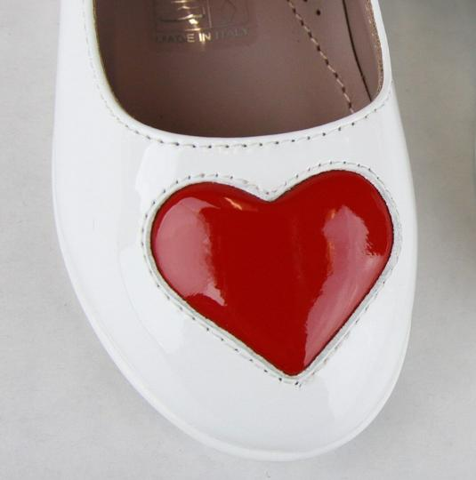 Gucci White W Patent Leather Ballet Flat W/Red Heart 27/Us 10.5 455402 9087 Shoes Image 6