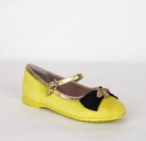 Gucci Yellow W Suede Ballet Flats W/Embroided Bee and Bow 24/Us 8 455394 7179 Shoes