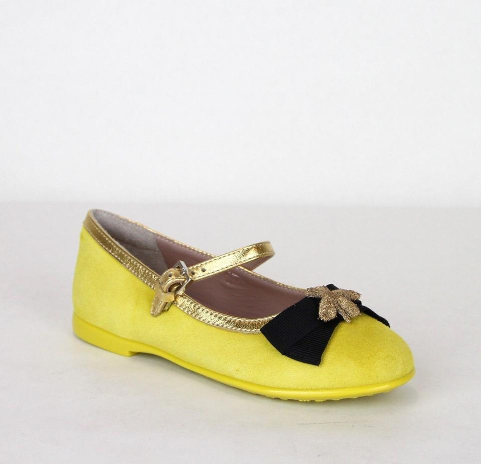 dba29de90 Gucci Yellow W Suede Ballet Flats W/Embroided Bee and Bow 25/Us 9 455394  7179 Shoes
