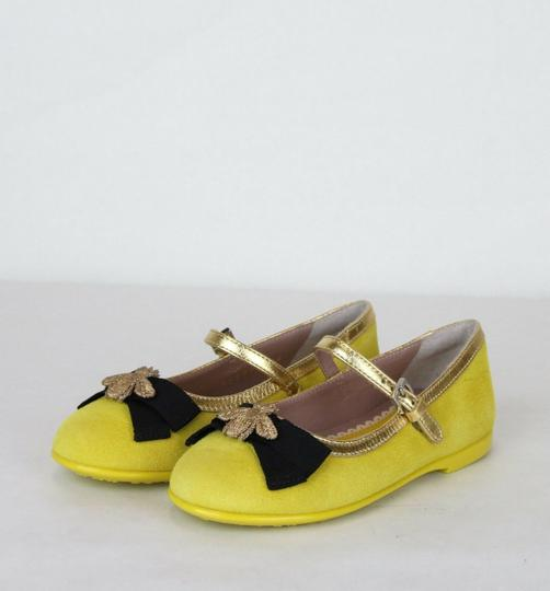 Gucci Yellow W Suede Ballet Flats W/Embroided Bee and Bow 25/Us 9 455394 7179 Shoes Image 1