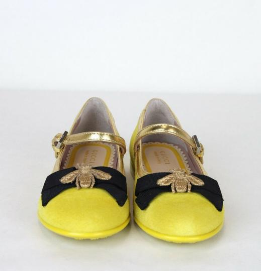 Gucci Yellow W Suede Ballet Flats W/Embroided Bee and Bow 25/Us 9 455394 7179 Shoes Image 2