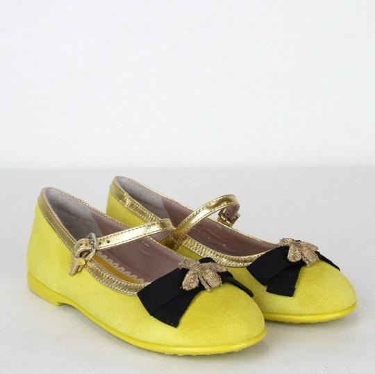 Gucci Yellow W Suede Ballet Flats W/Embroided Bee and Bow 25/Us 9 455394 7179 Shoes Image 3
