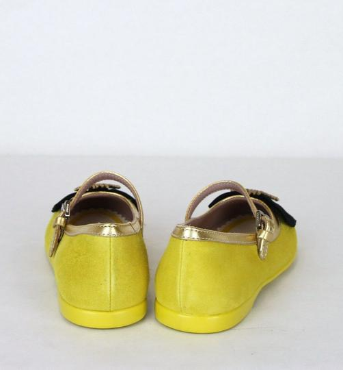 Gucci Yellow W Suede Ballet Flats W/Embroided Bee and Bow 25/Us 9 455394 7179 Shoes Image 4