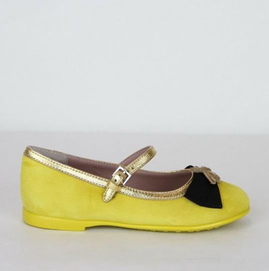 Gucci Yellow W Suede Ballet Flats W/Embroided Bee and Bow 25/Us 9 455394 7179 Shoes Image 5