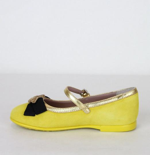 Gucci Yellow W Suede Ballet Flats W/Embroided Bee and Bow 25/Us 9 455394 7179 Shoes Image 6