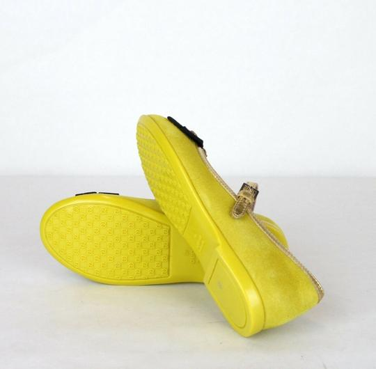 Gucci Yellow W Suede Ballet Flats W/Embroided Bee and Bow 25/Us 9 455394 7179 Shoes Image 7