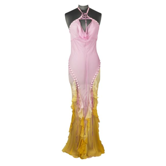 Preload https://img-static.tradesy.com/item/24707671/dior-pink-and-yellow-ombre-silk-chiffon-halter-lace-up-long-formal-dress-size-8-m-0-0-650-650.jpg