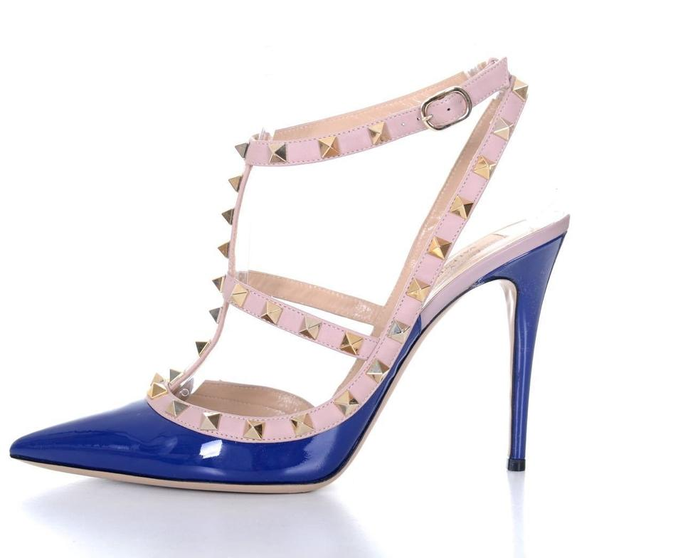 ccc57e110c01 Valentino Royal Blue   Nude Patent Leather Rockstud Cage Heels 40 9.5 Pumps  Size EU 40.5 (Approx. US 10.5) Regular (M