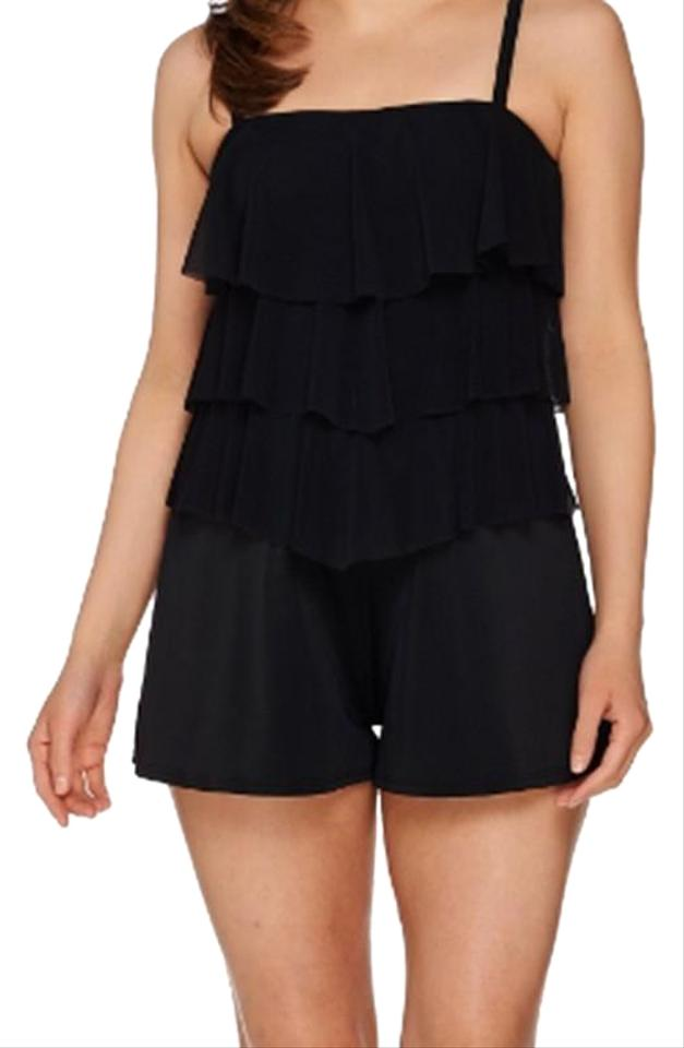 6016a0b52300 Black Bandeau V-tiered Mesh Romper One-piece Bathing Suit Size 18 ...