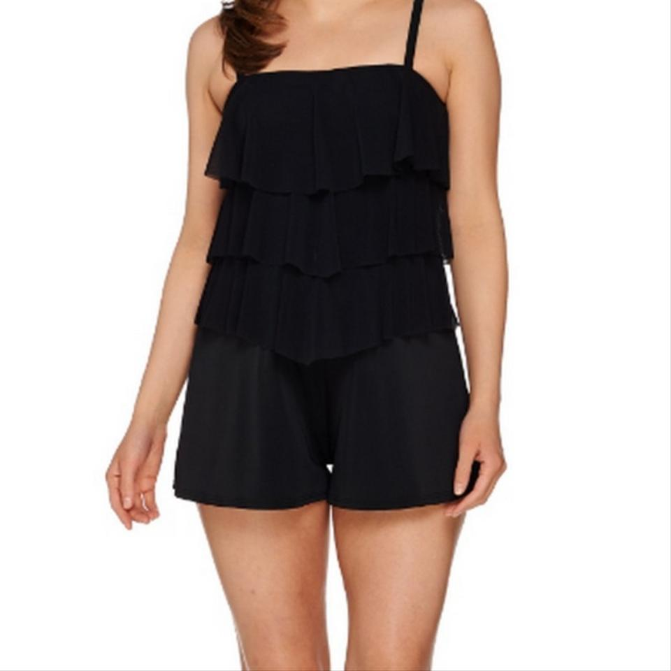 d3eafd3a565f Black Bandeau V-tiered Mesh Romper One-piece Bathing Suit. Size  18 ...