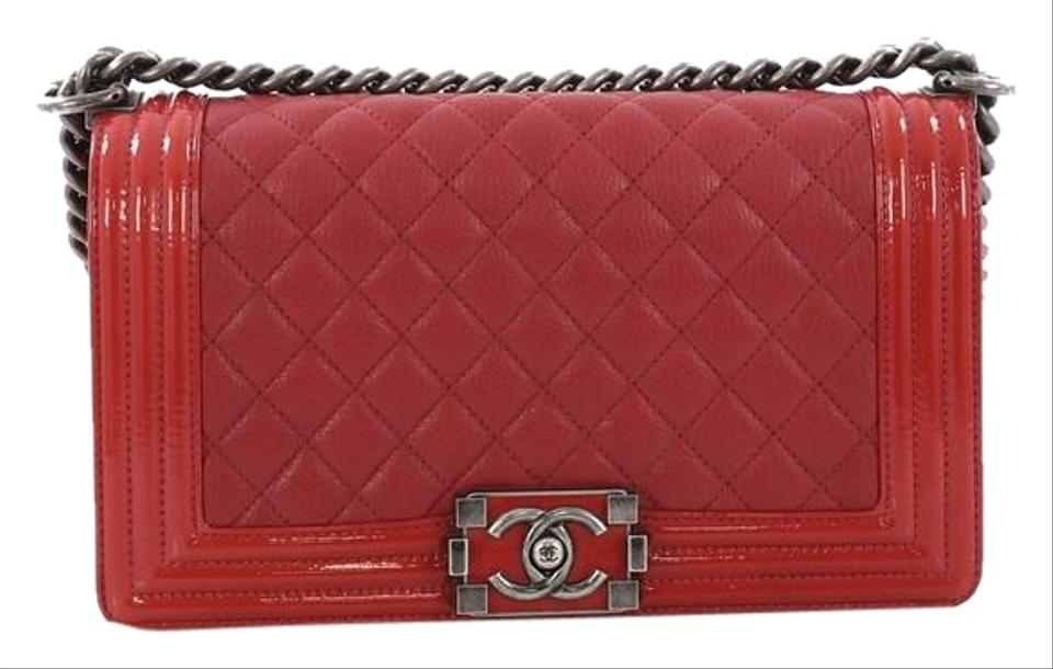 ac247fd46847 Chanel Classic Flap Boy Quilted with Patent Old Medium Red Goat Skin ...