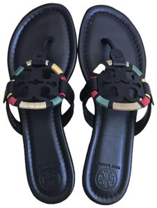 bd6b65ca5 Tory Burch Navy Blue White Miller Striped Patent Leather Flip Flops ...