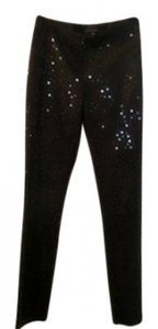 Maria Bianca Nero Sophisticated Sexy Festive Straight Pants Black with black sequence