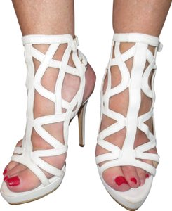 Le Silla Sexy Leather Italy Strappy High Off white Sandals