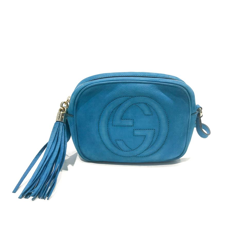 a7000d746249 Gucci Soho Small Suede Disco Blue Turquoise Nubuck Leather Cross ...