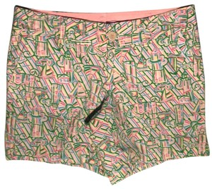 Lilly Pulitzer Bermuda Shorts multicolored with sailboats and lighthouses green pink white yellow blue