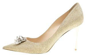 Jimmy Choo Embellished Crystal Metallic Pumps