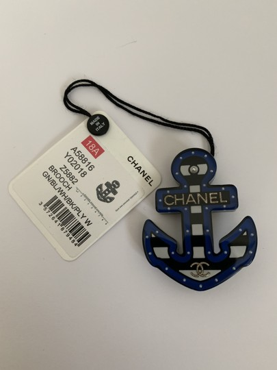 Chanel Chanel Large Letter CC Logo Blue Black White Coco Anchor Pin Brooch