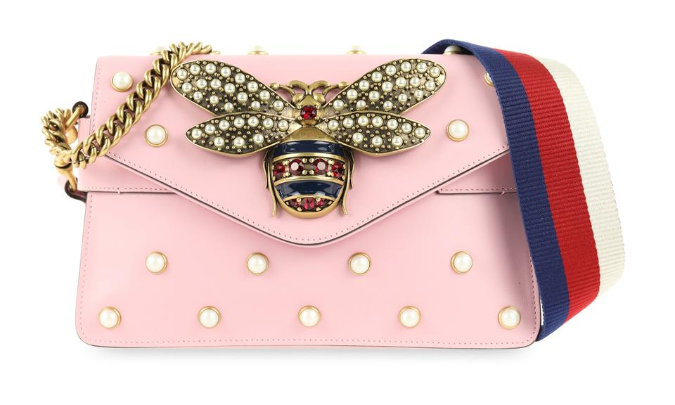 f82d33ffa12a Gucci Broadway Mini Pearly Bee Pink Leather Shoulder Bag - Tradesy