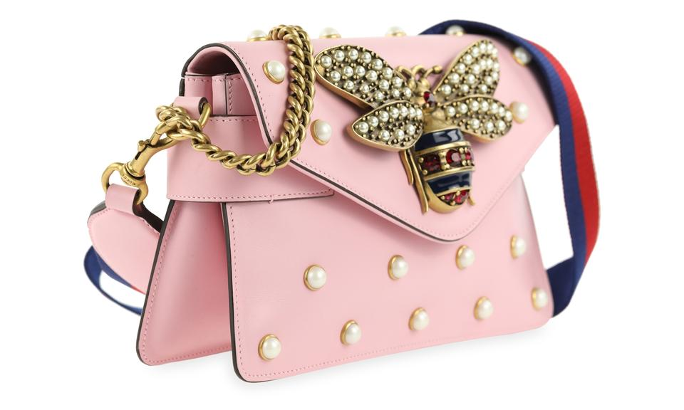 f86503bb0582 Gucci Broadway Mini Pearly Bee Pink Leather Shoulder Bag - Tradesy
