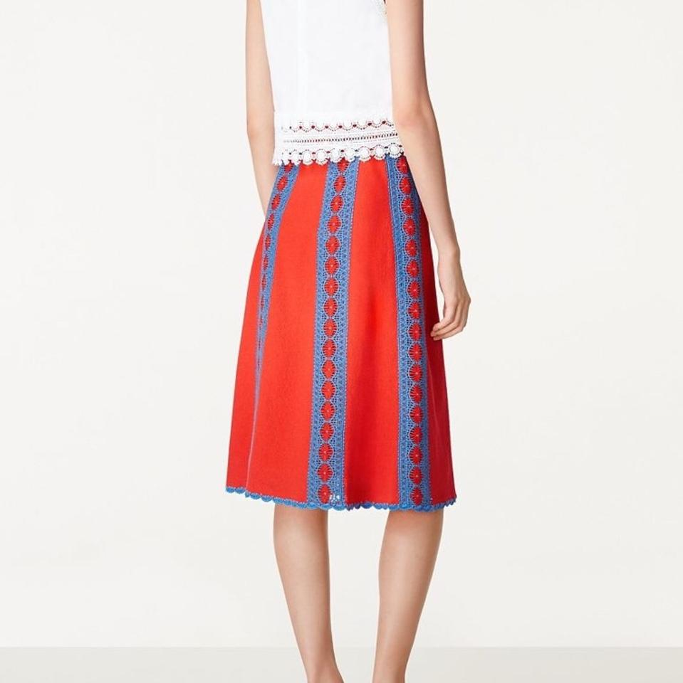 800fa23b3e576 Tory Burch Poppy Red and Blue Trista Crochet Lace Striped Knit Skirt ...