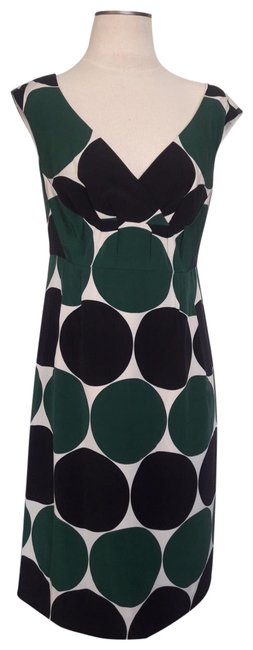 Item - Green and Black Polka-dot Printed Mid-length Cocktail Dress Size 4 (S)