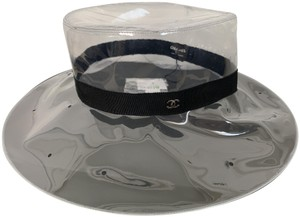 Chanel Chanel RUNWAY Clear PVC CC Logo Black Band Fedora Hat a7153d670c