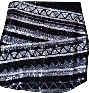 Express Mini Skirt Silver Black