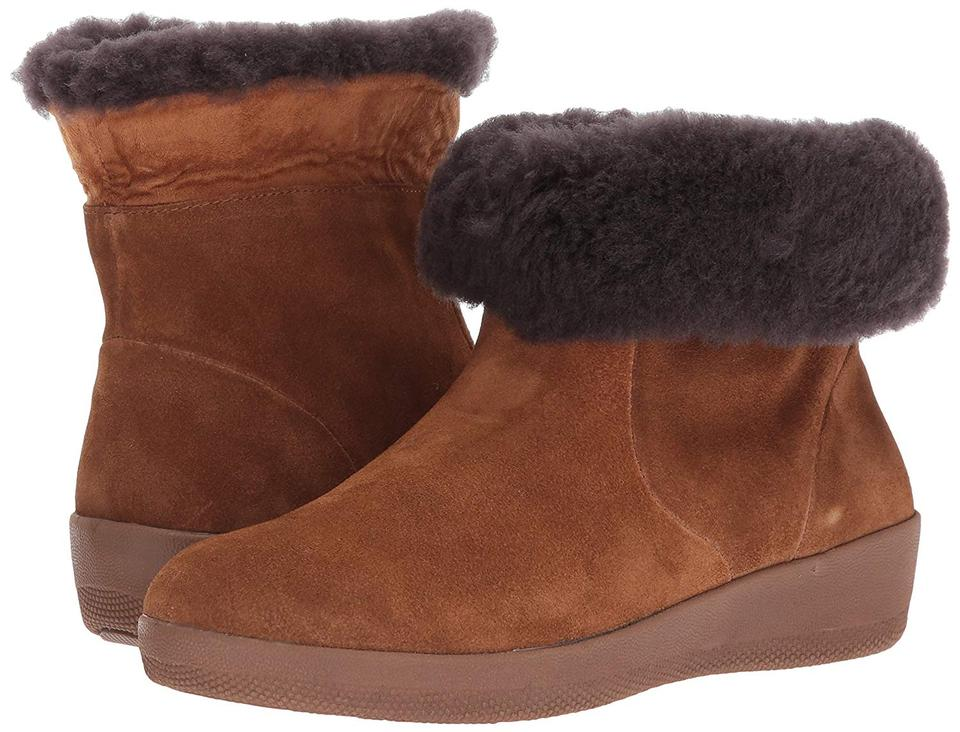 09428874e FitFlop Chestnut Women s Skatebootie Suede with Shearling Ankle ...