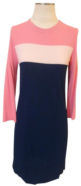 Item - Pink Blue and Cream Color Block Knit Mid-length Short Casual Dress Size 10 (M)