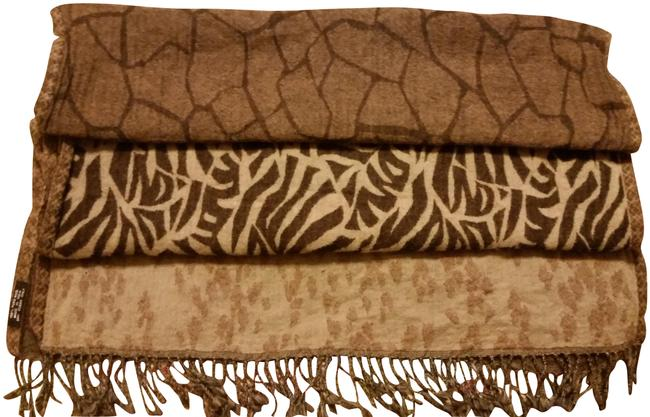 Item - Browns Wool Shawl Animal Prints Textured Weave No Defects Scarf/Wrap