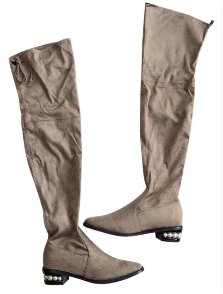 a6ab62de238 Catherine Malandrino Taupe Over The Knee Boots Booties Size US 9 ...