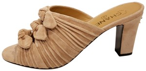 Chanel Bows Knotted Suede Beige Mules