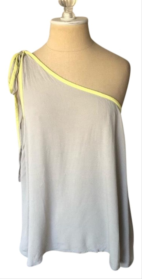 a686bc9386150 Free People Gray and Yellow You re The One Shoulder Nwot Tank Top ...