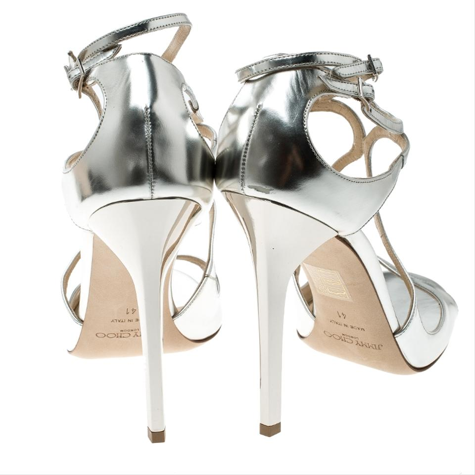 f58bdb0f60f Jimmy Choo Metallic Silver Mirror Leather Lance Strappy Sandals Size ...